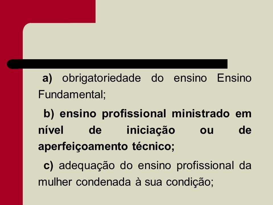 a) obrigatoriedade do ensino Ensino Fundamental; b) ensino profissional ministrado em nível de iniciação ou de aperfeiçoamento técnico; c) adequação d