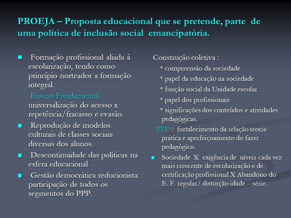 PROEJA – Proposta educacional que se pretende, parte de uma política de inclusão social emancipatória. Formação profissional aliada à escolarização, t