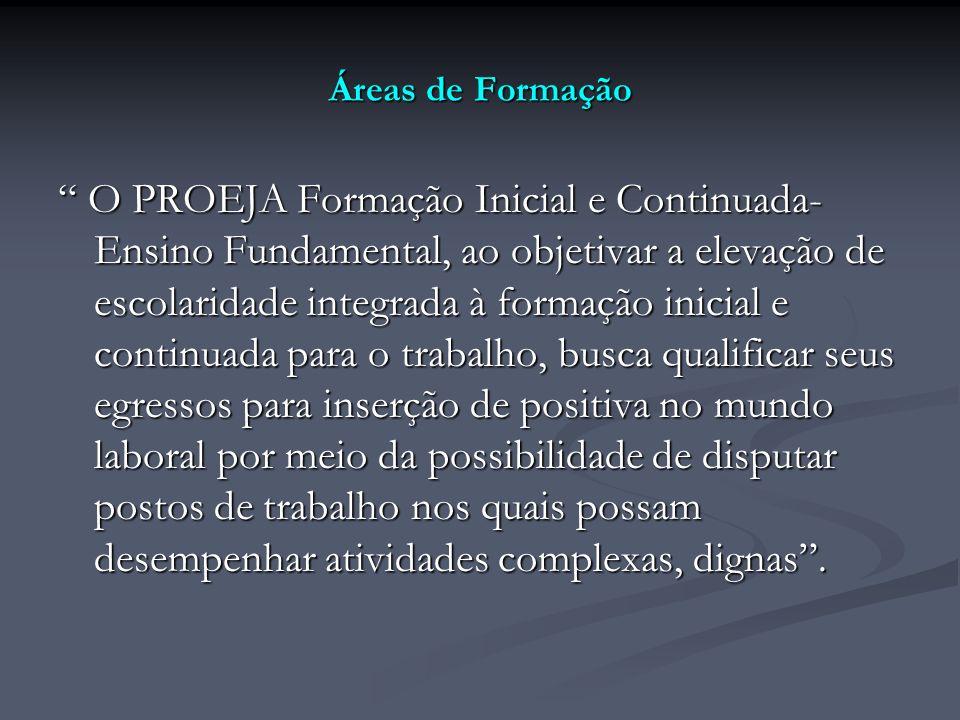 Áreas de Formação O PROEJA Formação Inicial e Continuada- Ensino Fundamental, ao objetivar a elevação de escolaridade integrada à formação inicial e c