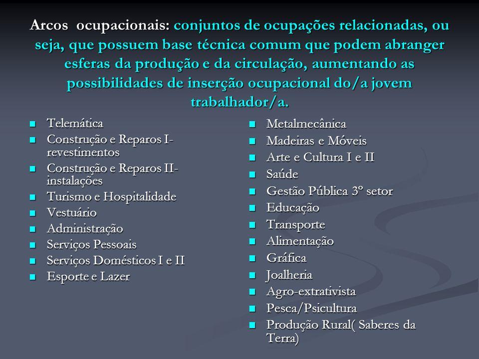 Arcos ocupacionais: conjuntos de ocupações relacionadas, ou seja, que possuem base técnica comum que podem abranger esferas da produção e da circulaçã