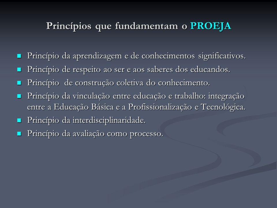 Princípios que fundamentam o PROEJA Princípio da aprendizagem e de conhecimentos significativos. Princípio da aprendizagem e de conhecimentos signific