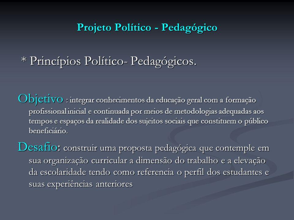 Projeto Político - Pedagógico * Princípios Político- Pedagógicos. * Princípios Político- Pedagógicos. Objetivo : integrar conhecimentos da educação ge