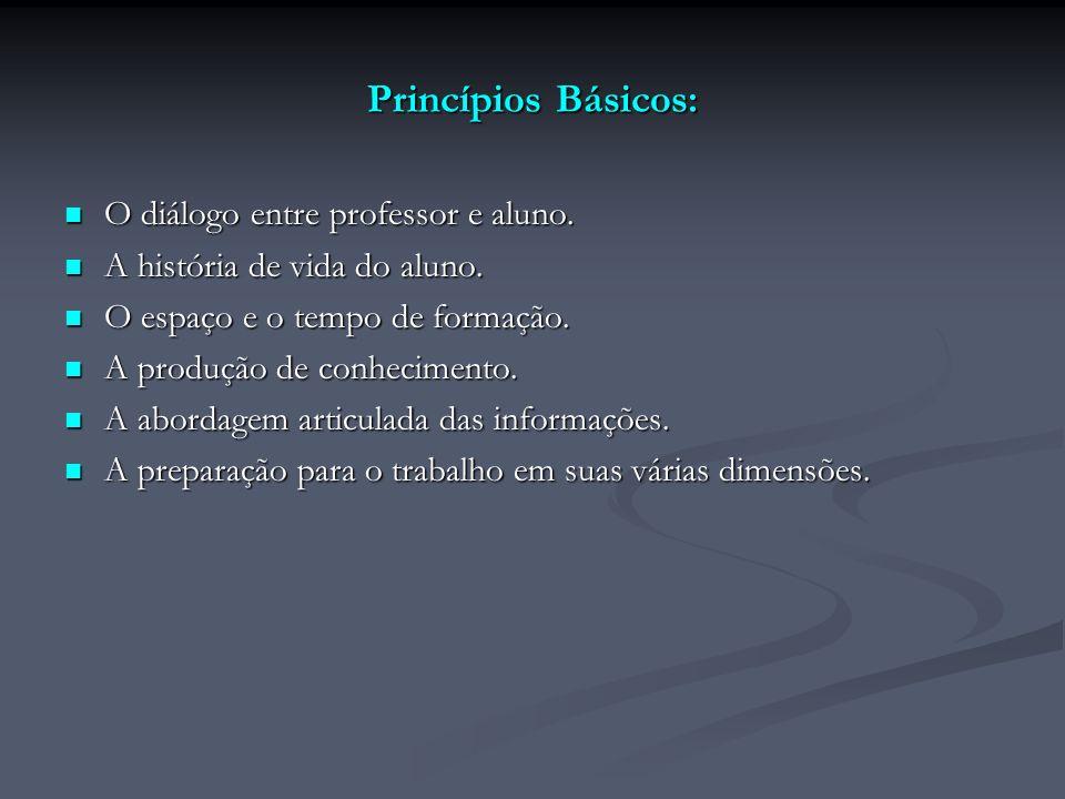 Princípios Básicos: O diálogo entre professor e aluno. O diálogo entre professor e aluno. A história de vida do aluno. A história de vida do aluno. O
