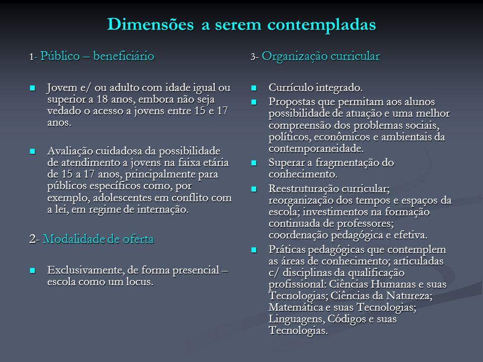Dimensões a serem contempladas 1- Público – beneficiário Jovem e/ ou adulto com idade igual ou superior a 18 anos, embora não seja vedado o acesso a j