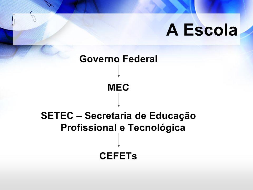 A Escola Governo Federal MEC SETEC – Secretaria de Educação Profissional e Tecnológica CEFETs
