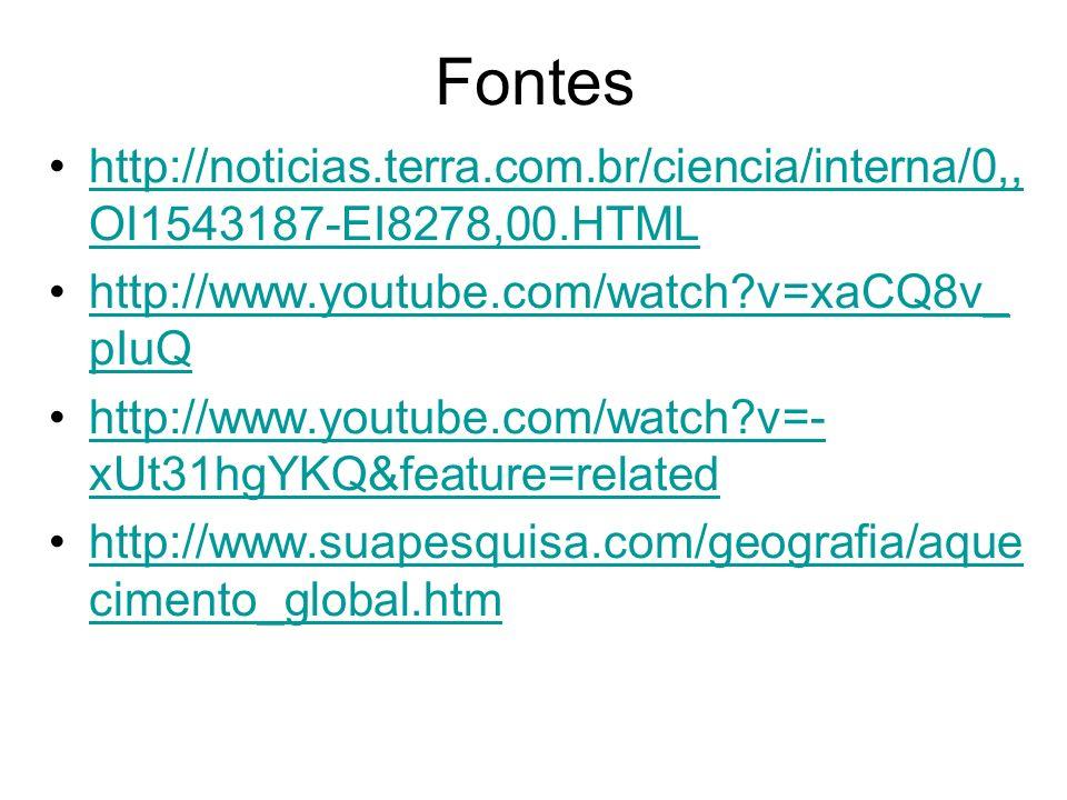Fontes http://noticias.terra.com.br/ciencia/interna/0,, OI1543187-EI8278,00.HTMLhttp://noticias.terra.com.br/ciencia/interna/0,, OI1543187-EI8278,00.H
