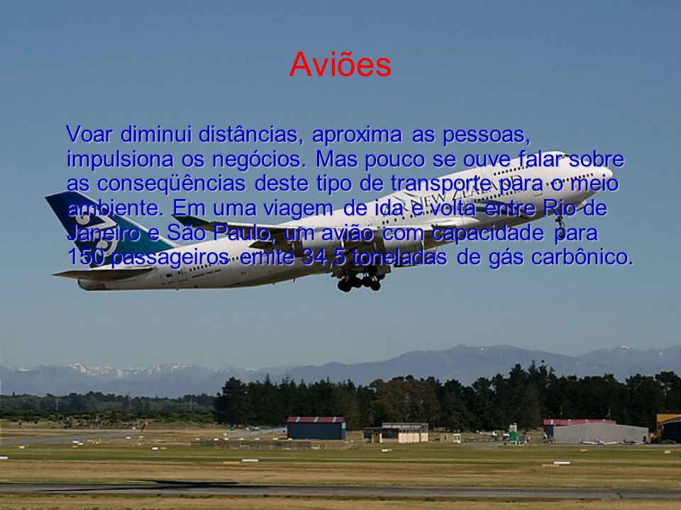 Aviões Voar diminui distâncias, aproxima as pessoas, impulsiona os negócios. Mas pouco se ouve falar sobre as conseqüências deste tipo de transporte p