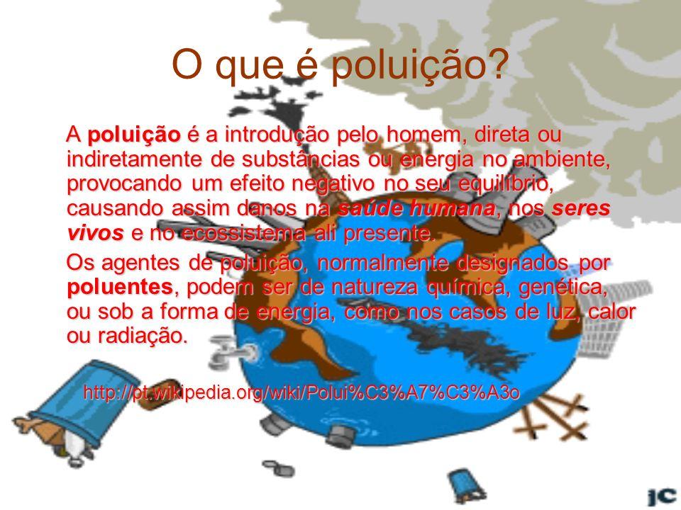 O que é poluição? A poluição é a introdução pelo homem, direta ou indiretamente de substâncias ou energia no ambiente, provocando um efeito negativo n