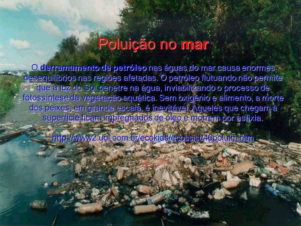 Poluição no mar O derramamento de petróleo nas águas do mar causa enormes desequilíbrios nas regiões afetadas. O petróleo flutuando não permite que a