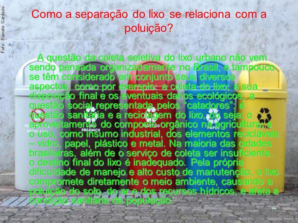 Como a separação do lixo se relaciona com a poluição? A questão da coleta seletiva do lixo urbano não vem sendo pensada organizadamente no Brasil, e t