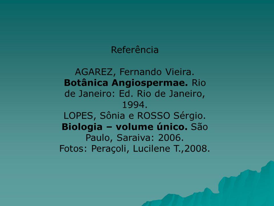 Referência AGAREZ, Fernando Vieira. Botânica Angiospermae. Rio de Janeiro: Ed. Rio de Janeiro, 1994. LOPES, Sônia e ROSSO Sérgio. Biologia – volume ún