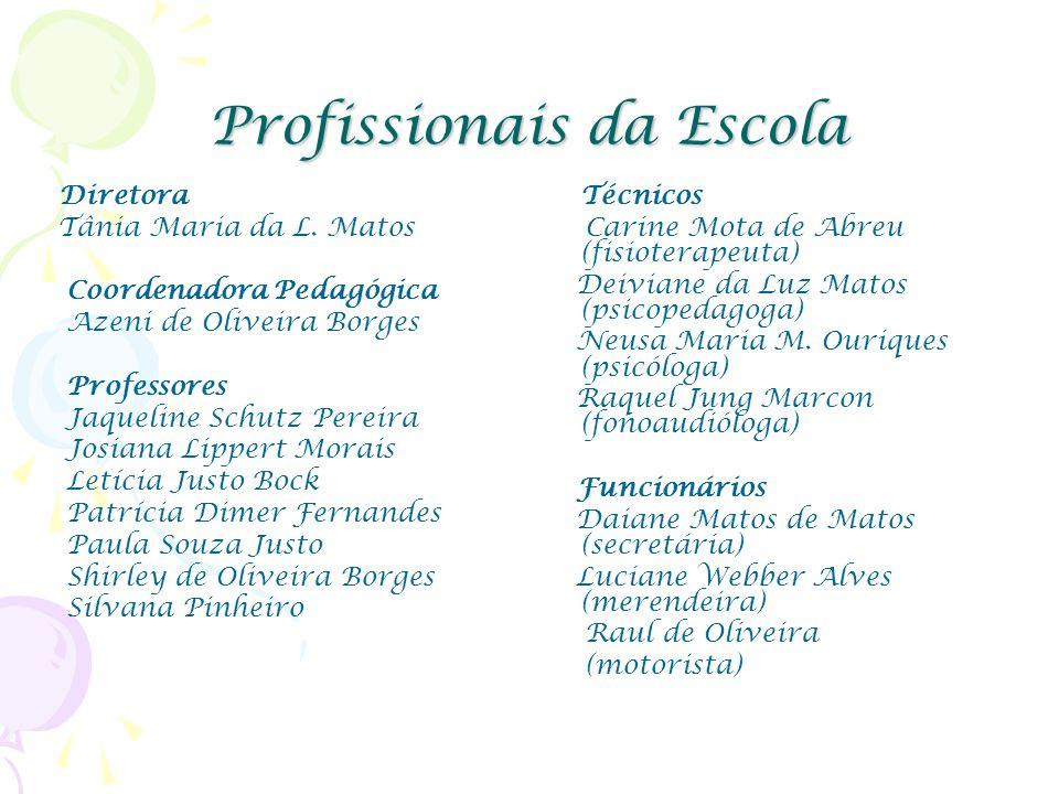 Profissionais da Escola Diretora Tânia Maria da L. Matos Coordenadora Pedagógica Azeni de Oliveira Borges Professores Jaqueline Schutz Pereira Josiana