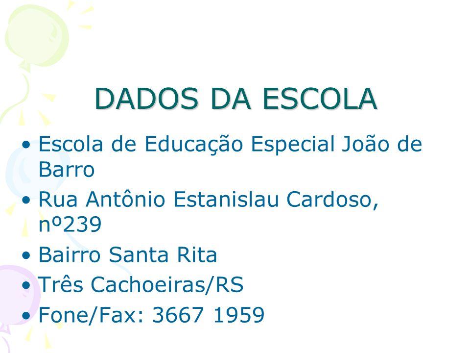 DADOS DA ESCOLA Escola de Educação Especial João de Barro Rua Antônio Estanislau Cardoso, nº239 Bairro Santa Rita Três Cachoeiras/RS Fone/Fax: 3667 19