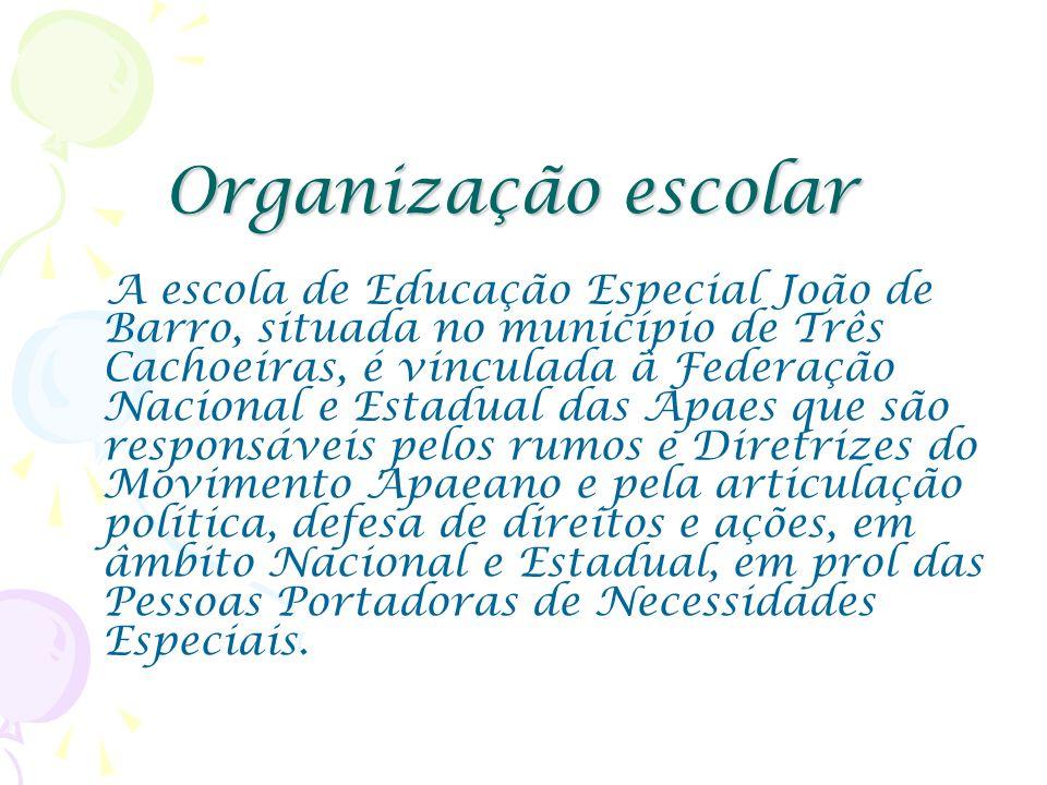 Organização escolar A escola de Educação Especial João de Barro, situada no município de Três Cachoeiras, é vinculada à Federação Nacional e Estadual