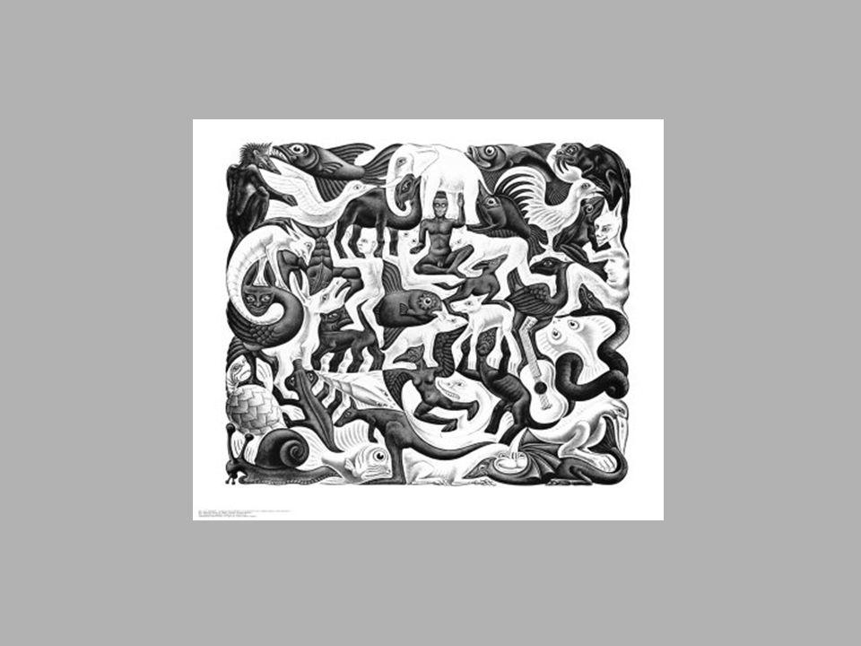 Essa figura foi a que eu mais gostei, porque é um cubo no qual todos tipos de seres vivos e objetos são esmagados, um com o outro sem tapar a sua forma física e sem passar pro lado de fora do cubo, é como se um desenho na sua forma de aparência completasse o outro encaixando perfeitamente o contorno parecido da sobra em branco no fundo, como um quebra cabeça.