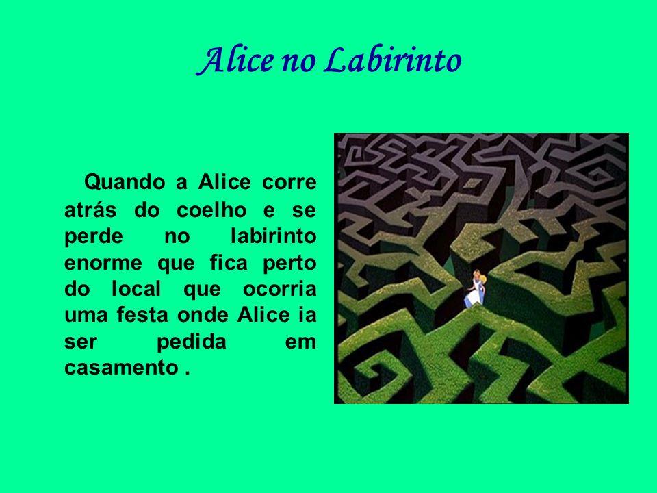Alice no Labirinto Quando a Alice corre atrás do coelho e se perde no labirinto enorme que fica perto do local que ocorria uma festa onde Alice ia ser
