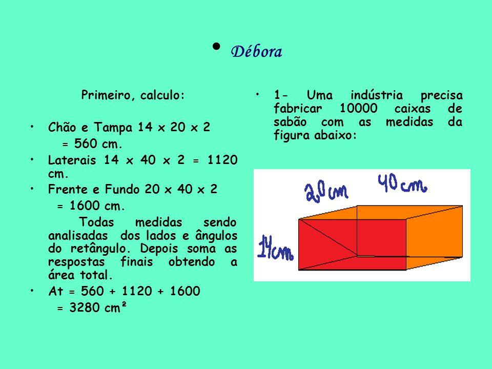 Débora Primeiro, calculo: Chão e Tampa 14 x 20 x 2 = 560 cm. Laterais 14 x 40 x 2 = 1120 cm. Frente e Fundo 20 x 40 x 2 = 1600 cm. Todas medidas sendo