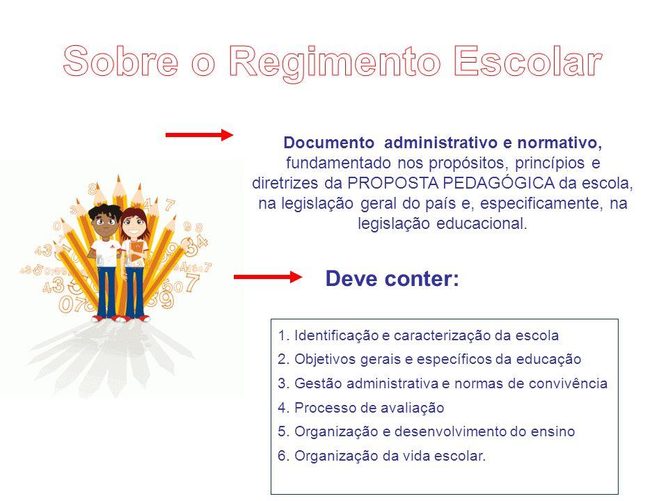 Documento administrativo e normativo, fundamentado nos propósitos, princípios e diretrizes da PROPOSTA PEDAGÓGICA da escola, na legislação geral do país e, especificamente, na legislação educacional.