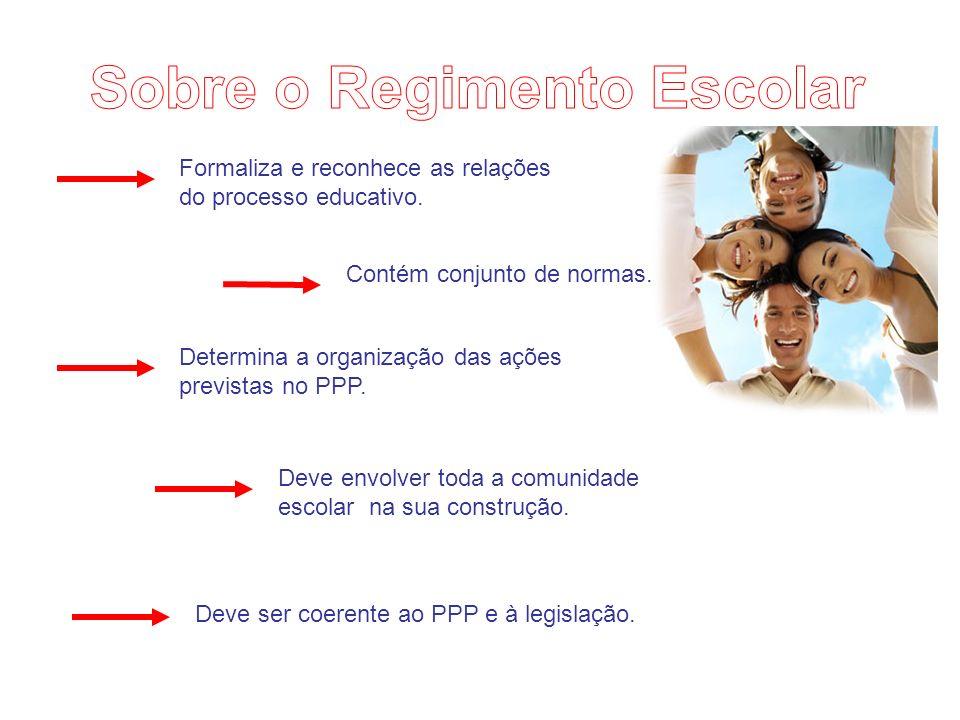 Formaliza e reconhece as relações do processo educativo. Contém conjunto de normas. Determina a organização das ações previstas no PPP. Deve envolver