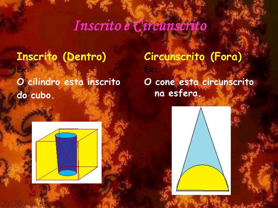 Inscrito e Circunscrito Inscrito (Dentro) Ex: O cilindro esta inscrito do cubo. Circunscrito (Fora) Ex: O cone esta circunscrito na esfera.
