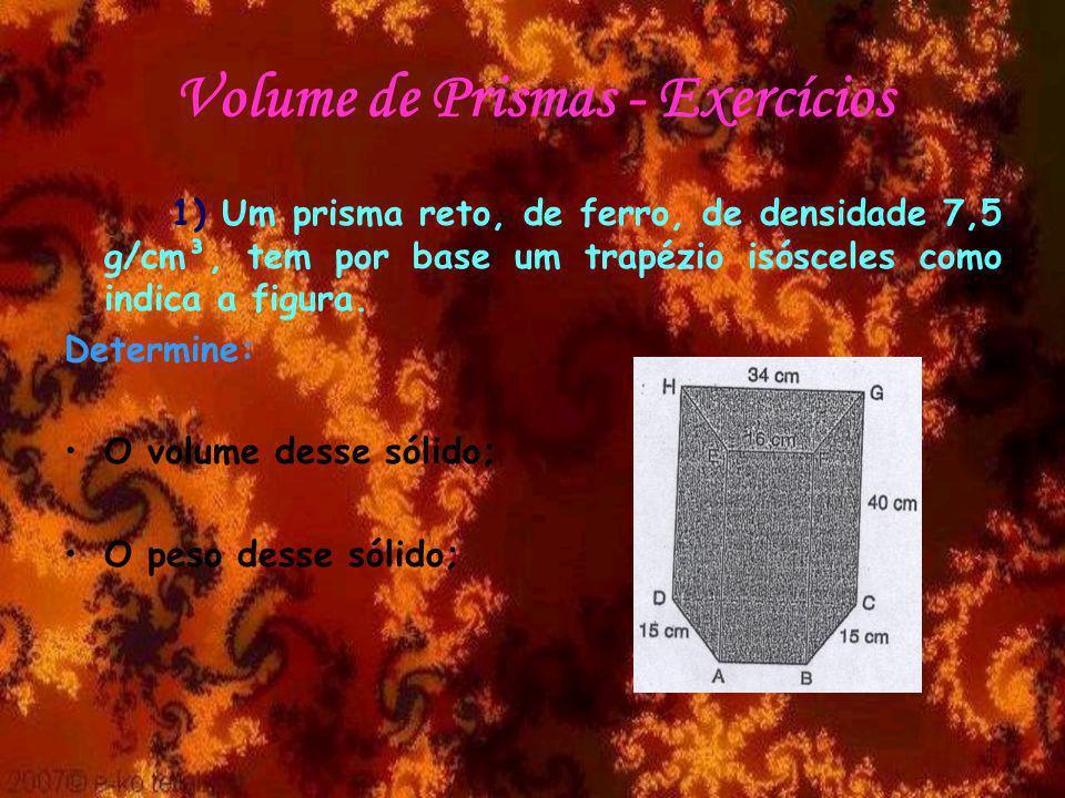Volume de Prismas - Exercícios 1) Um prisma reto, de ferro, de densidade 7,5 g/cm³, tem por base um trapézio isósceles como indica a figura. Determine