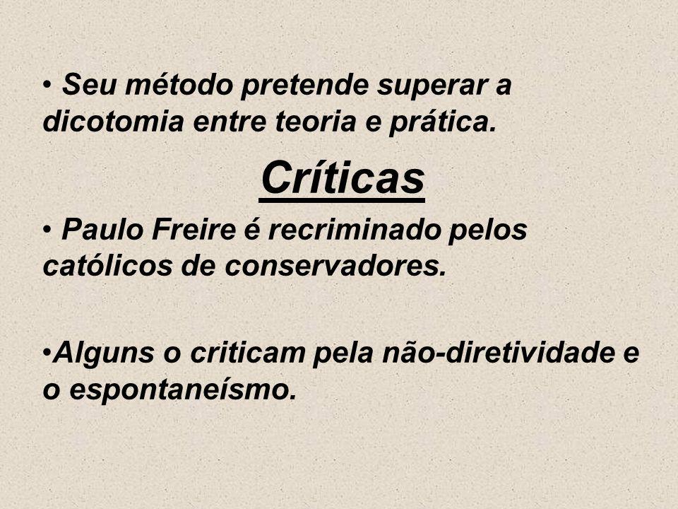 Freire defende a autogestão pedagógica. Recusa a transmissão de conhecimentos vindos de fora. O resultado do método aplicado de Paulo Freire sempre fo
