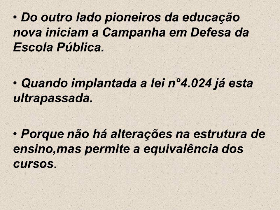 Do outro lado pioneiros da educação nova iniciam a Campanha em Defesa da Escola Pública.