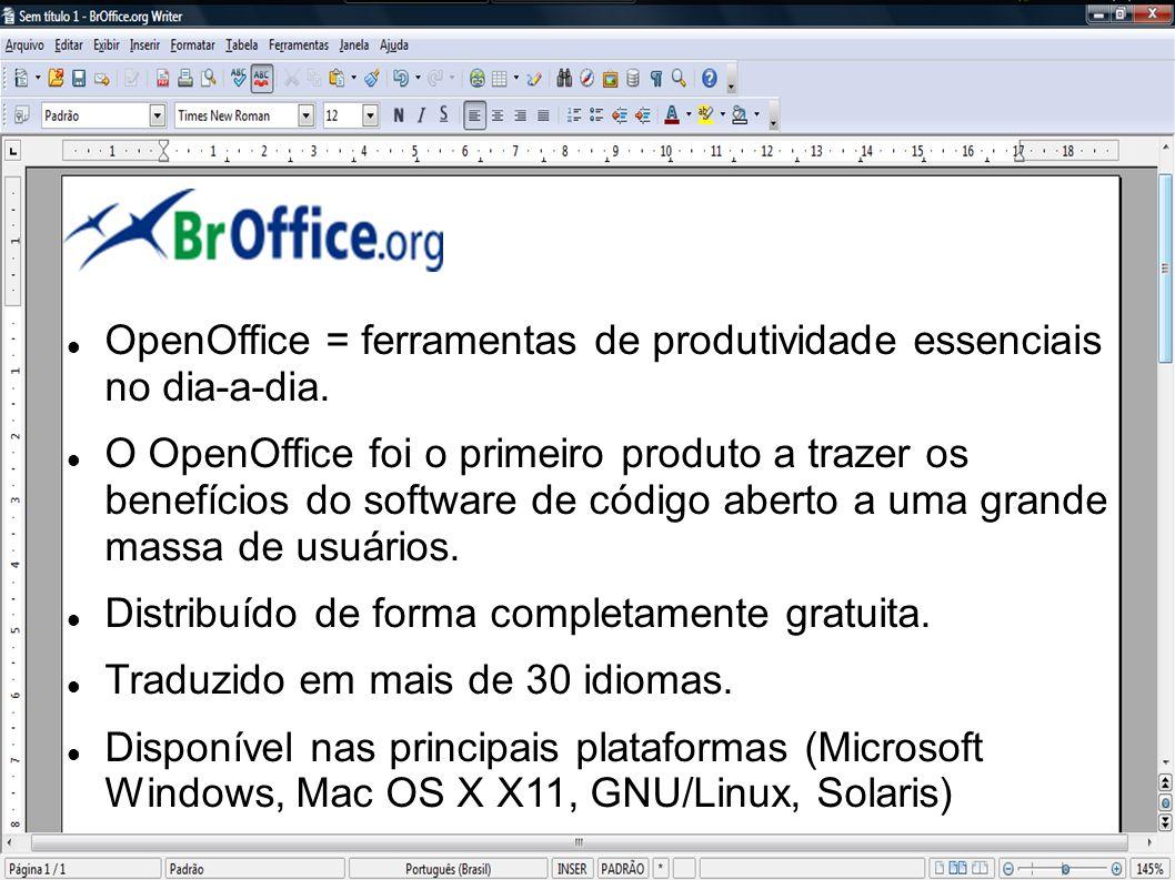 OpenOffice = ferramentas de produtividade essenciais no dia-a-dia. O OpenOffice foi o primeiro produto a trazer os benefícios do software de código ab