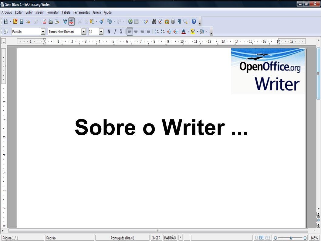 O Writer possui todas as características que você pode esperar de editor de textos.