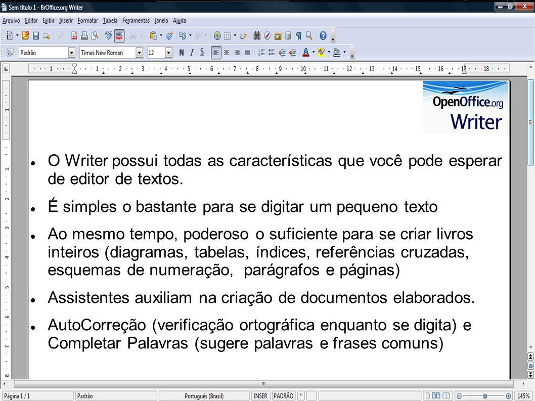 O Writer possui todas as características que você pode esperar de editor de textos. É simples o bastante para se digitar um pequeno texto Ao mesmo tem