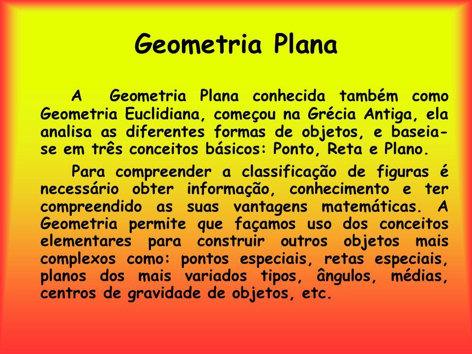 Geometria Plana A Geometria Plana conhecida também como Geometria Euclidiana, começou na Grécia Antiga, ela analisa as diferentes formas de objetos, e