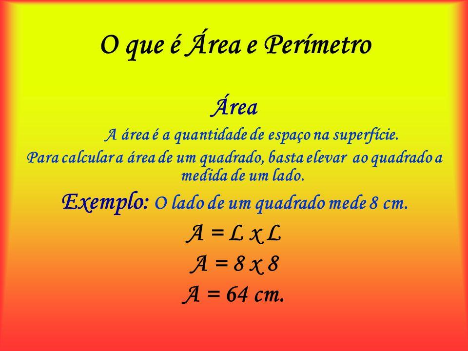 O que é Área e Perímetro Área A área é a quantidade de espaço na superfície. Para calcular a área de um quadrado, basta elevar ao quadrado a medida de
