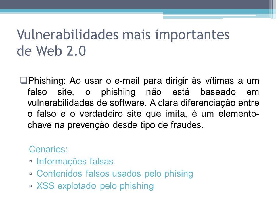 Phishing: Ao usar o e-mail para dirigir às vítimas a um falso site, o phishing não está baseado em vulnerabilidades de software. A clara diferenciação