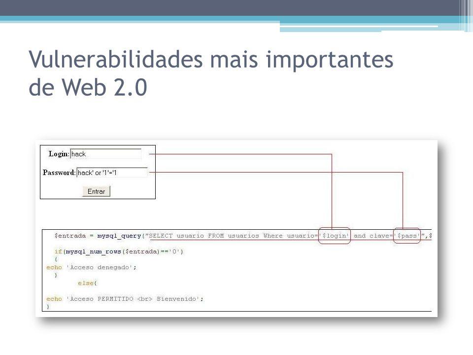Vulnerabilidades mais importantes de Web 2.0
