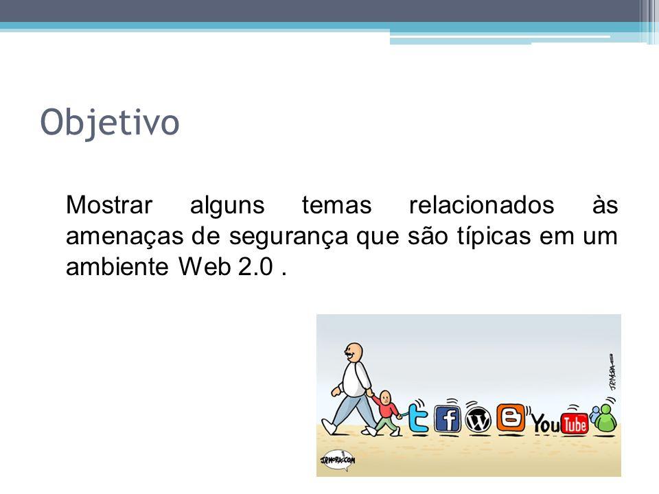Objetivo Mostrar alguns temas relacionados às amenaças de segurança que são típicas em um ambiente Web 2.0.