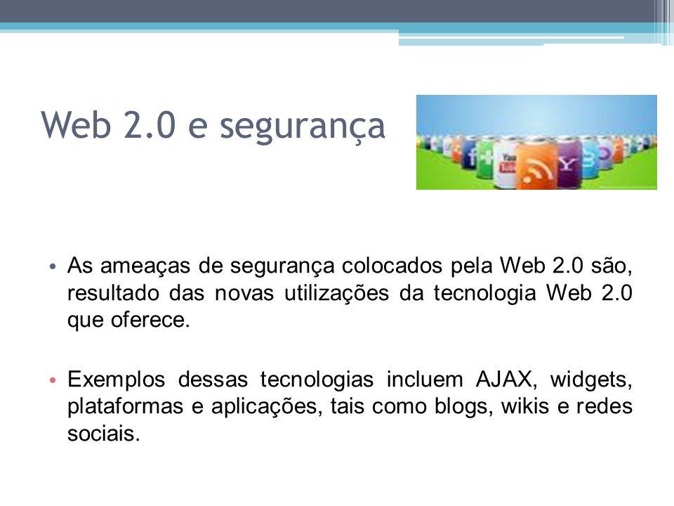 Web 2.0 e segurança As ameaças de segurança colocados pela Web 2.0 são, resultado das novas utilizações da tecnologia Web 2.0 que oferece. Exemplos de