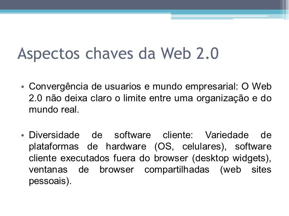 Aspectos chaves da Web 2.0 Convergência de usuarios e mundo empresarial: O Web 2.0 não deixa claro o limite entre uma organização e do mundo real. Div