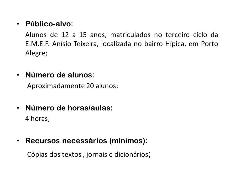 Público-alvo: Alunos de 12 a 15 anos, matriculados no terceiro ciclo da E.M.E.F. Anísio Teixeira, localizada no bairro Hípica, em Porto Alegre; Número