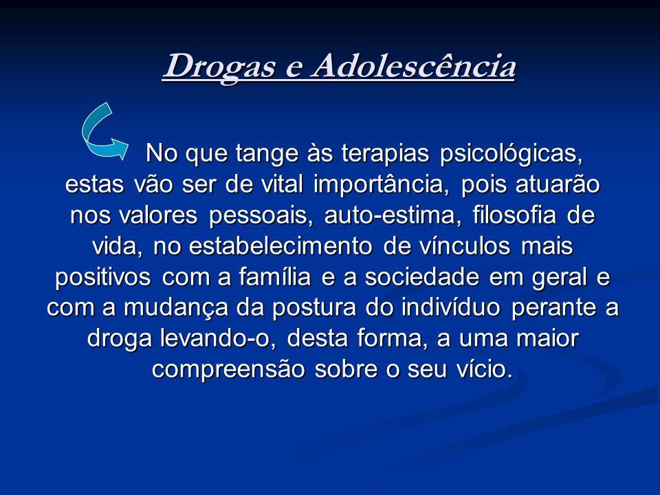 Drogas e Adolescência No que tange às terapias psicológicas, estas vão ser de vital importância, pois atuarão nos valores pessoais, auto-estima, filos