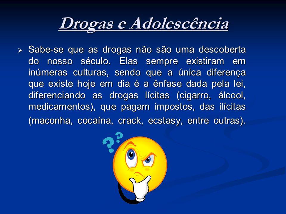Drogas e Adolescência Sabe-se que as drogas não são uma descoberta do nosso século. Elas sempre existiram em inúmeras culturas, sendo que a única dife