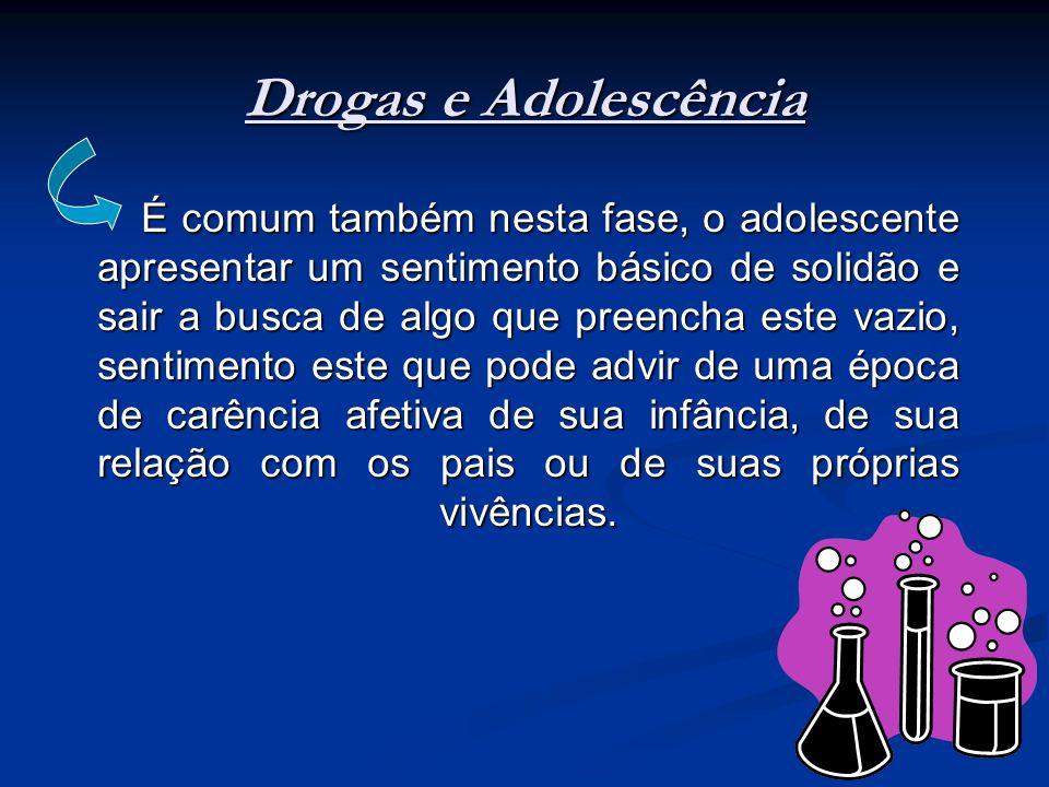 Drogas e Adolescência É comum também nesta fase, o adolescente apresentar um sentimento básico de solidão e sair a busca de algo que preencha este vaz