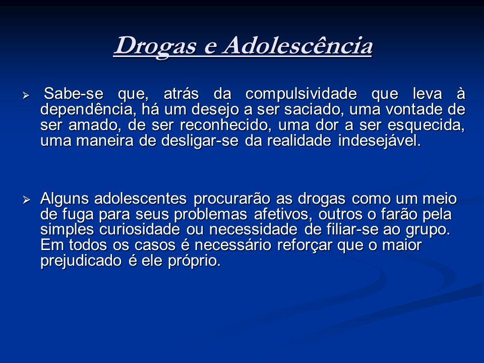 Drogas e Adolescência Sabe-se que, atrás da compulsividade que leva à dependência, há um desejo a ser saciado, uma vontade de ser amado, de ser reconh