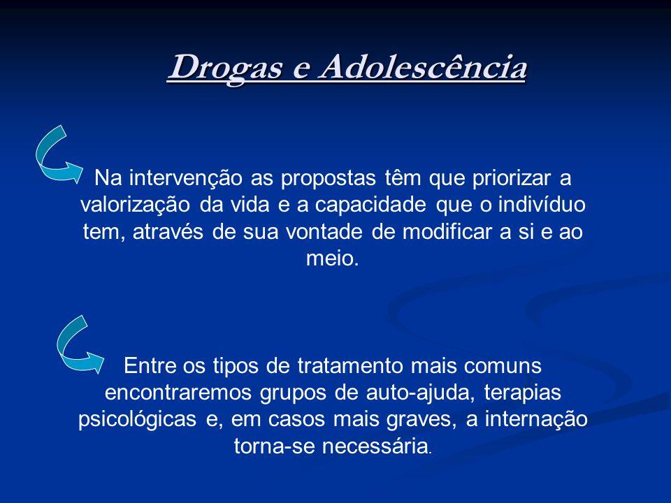 Drogas e Adolescência Na intervenção as propostas têm que priorizar a valorização da vida e a capacidade que o indivíduo tem, através de sua vontade d