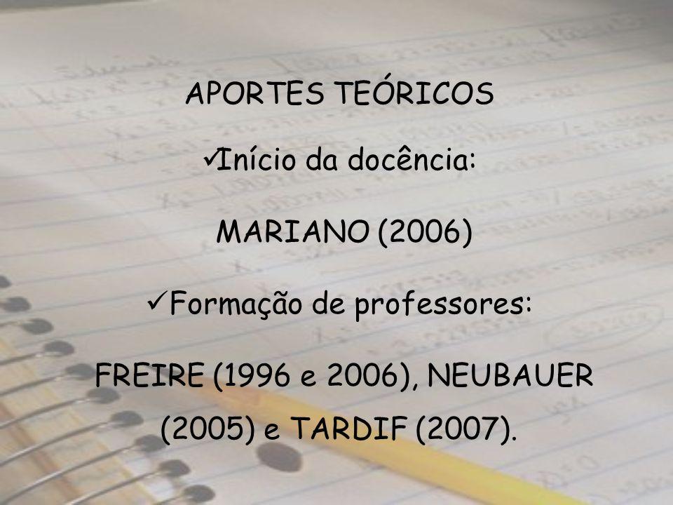 APORTES TEÓRICOS Início da docência: MARIANO (2006) Formação de professores: FREIRE (1996 e 2006), NEUBAUER (2005) e TARDIF (2007).