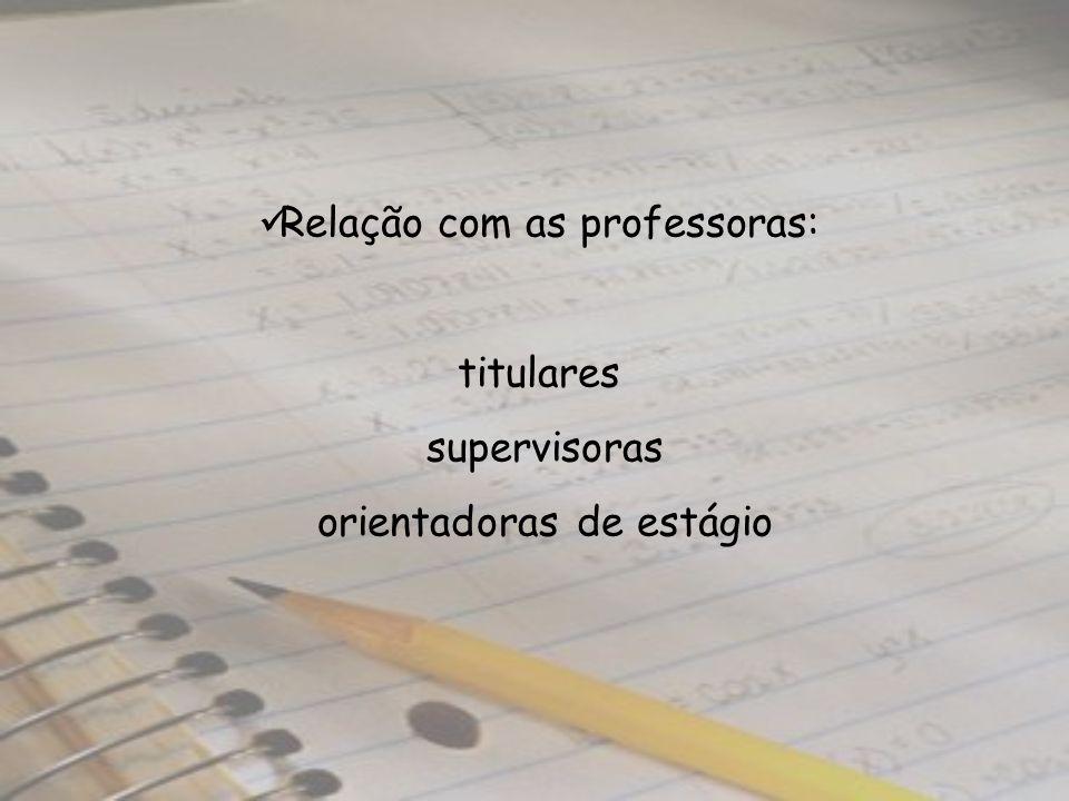 Relação com as professoras: titulares supervisoras orientadoras de estágio