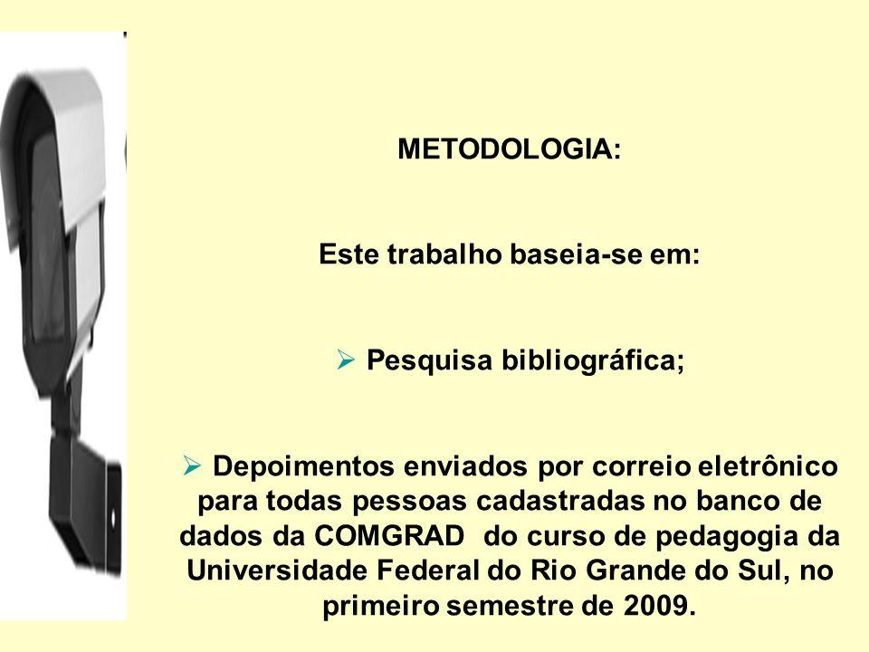 METODOLOGIA: Este trabalho baseia-se em: Pesquisa bibliográfica; Depoimentos enviados por correio eletrônico para todas pessoas cadastradas no banco d