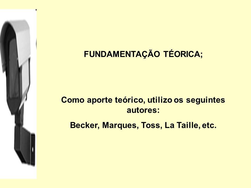 FUNDAMENTAÇÃO TÉORICA; Como aporte teórico, utilizo os seguintes autores: Becker, Marques, Toss, La Taille, etc.