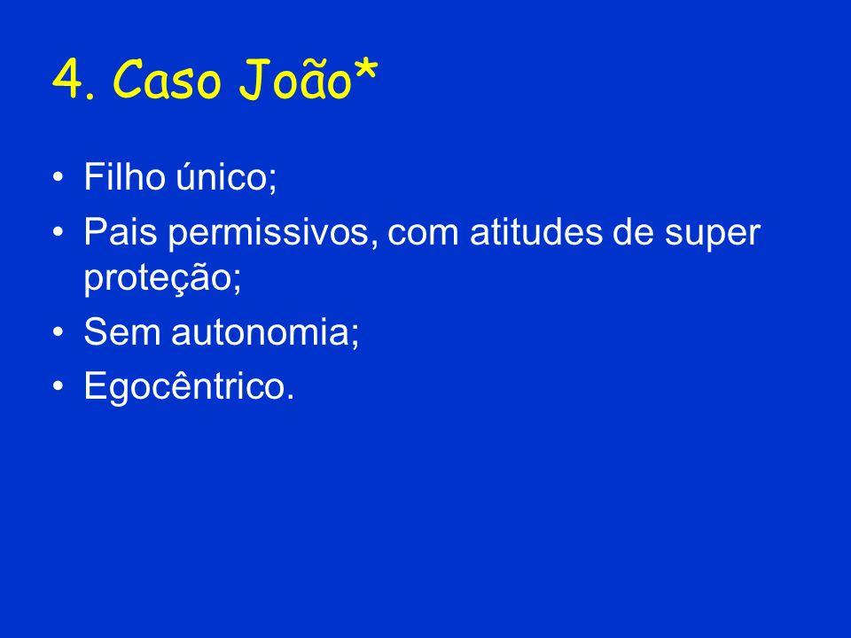 4. Caso João* Filho único; Pais permissivos, com atitudes de super proteção; Sem autonomia; Egocêntrico.