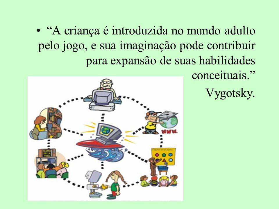 A criança é introduzida no mundo adulto pelo jogo, e sua imaginação pode contribuir para expansão de suas habilidades conceituais. Vygotsky.