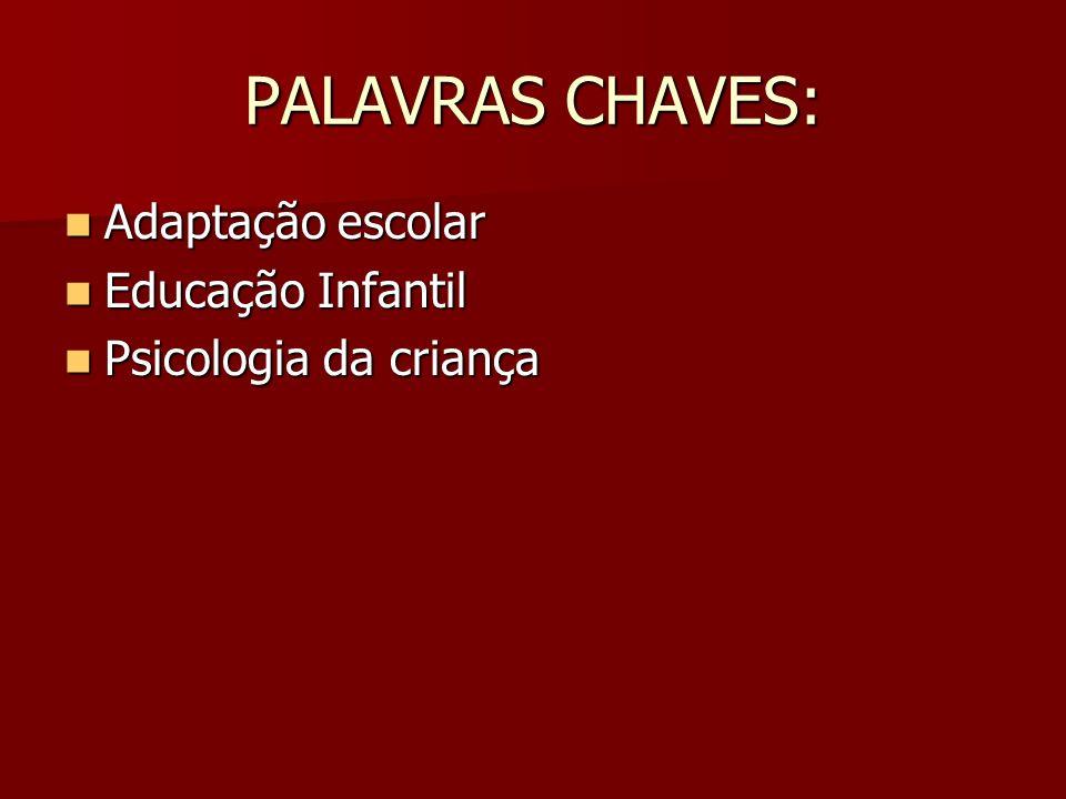 PALAVRAS CHAVES: Adaptação escolar Adaptação escolar Educação Infantil Educação Infantil Psicologia da criança Psicologia da criança